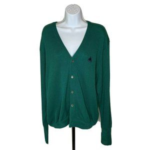VintageIzod Cardigan Sweater XL Green Hipster